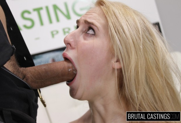 Blonde deep throat at Brutal Castings