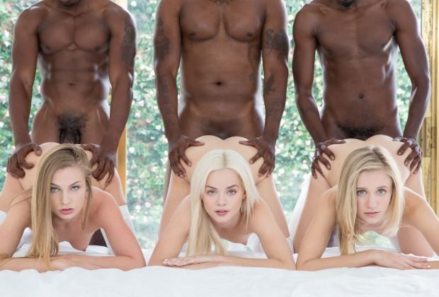 Three petite blondes and three huge black dicks